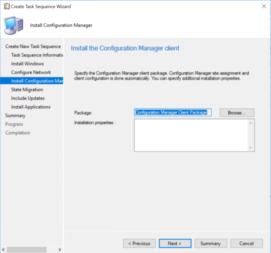 Configuration Manager Client is selected