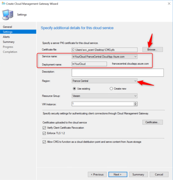 select certificate for configure cmg