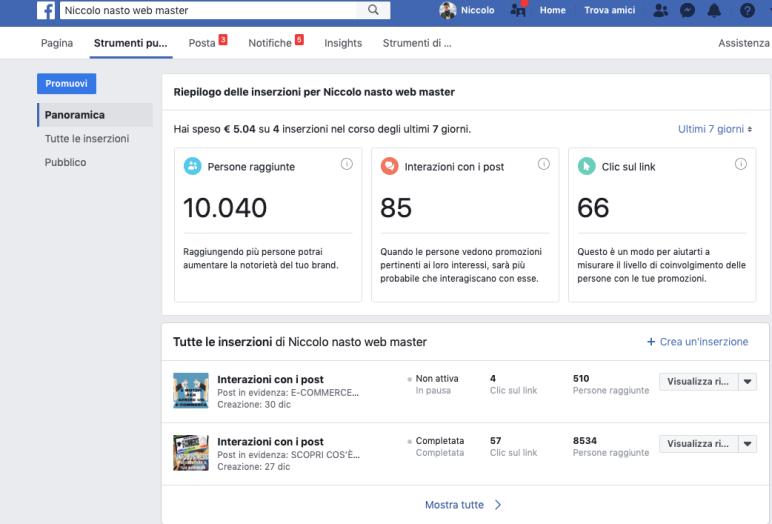 investiti 5 euro ,persone raggiunte 10000, interazioni 85, click 66