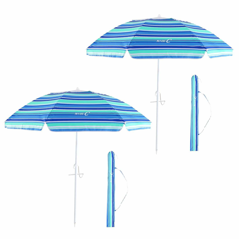 nicec beach umbrella 6 5ft portable adjustable tilt with sand anchor aluminum patio umbrella outdoor pool garden uv 50 with carry case