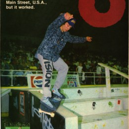 Ohio Street contest. Gonzo with Smith rail slide down the Main Street USA stair box edge. this was the First time we had ever conceived this stuff was gonna happen.
