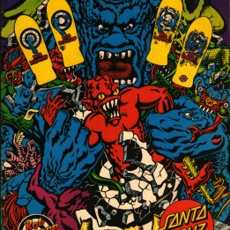Rob Roskopp graphics series of emerging monster. Santa Cruz ad.
