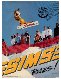 Sims rules snowboarding. backside air to method off a huge bump into hand made pipe. Skates on Haight ad