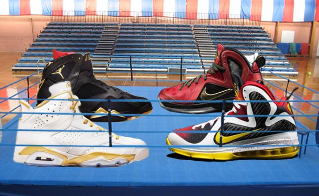 "21316f60ef71 Sneaker Showdown  Nike LeBron 9 ""Championship"" Pack vs. Air Jordan 6 7  ""Golden Moments"" Pack"