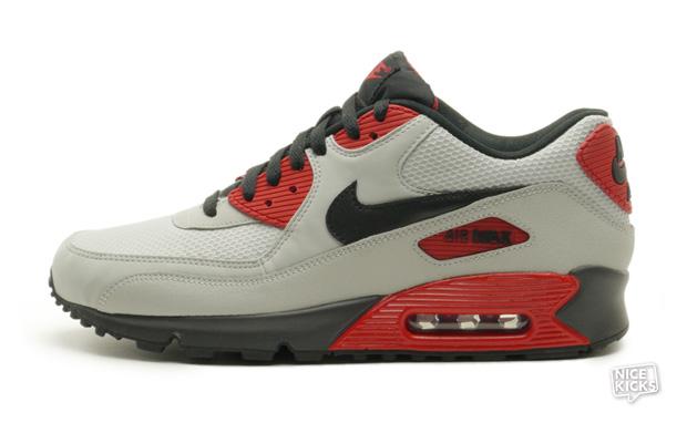 nike air max 90 essential - strata grey/gym red