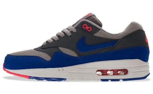 Nike Air Max 1 Ultramarine Dark Grey Sneakers (Medium Grey/Ultramarine-Dark Grey-Seal Red)