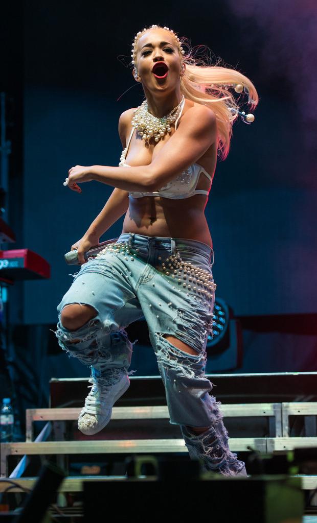 Rita Ora in customized adidas Superstars