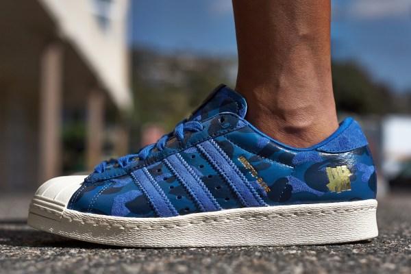 "new styles 2e48c 75a5c On-Foot Look  BAPE x UNDFTD x adidas Superstar ""Blue Camo"""