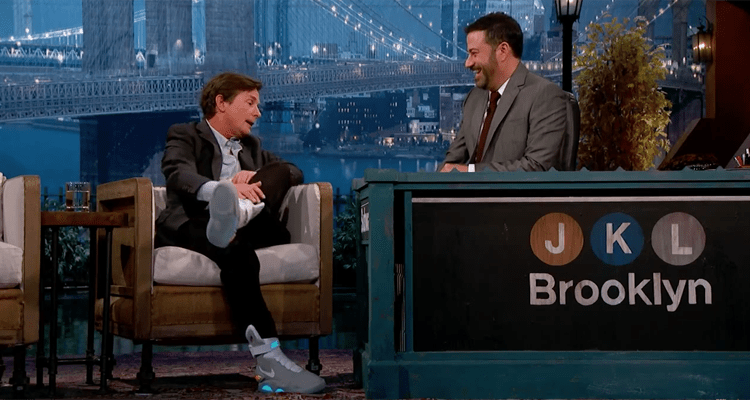 Michael J. Fox Visits Jimmy Kimmel Live in 2015 Nike MAGs
