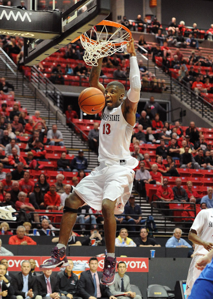 "San Diego State's Winston Shepard in the Nike LeBron 13 ""Medium Berry"""