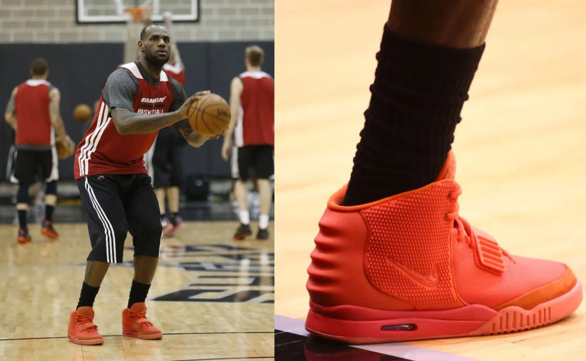 "reputable site 08c5c 9f4b0 LeBron James in the Nike Air Yeezy 2 ""Red October"""