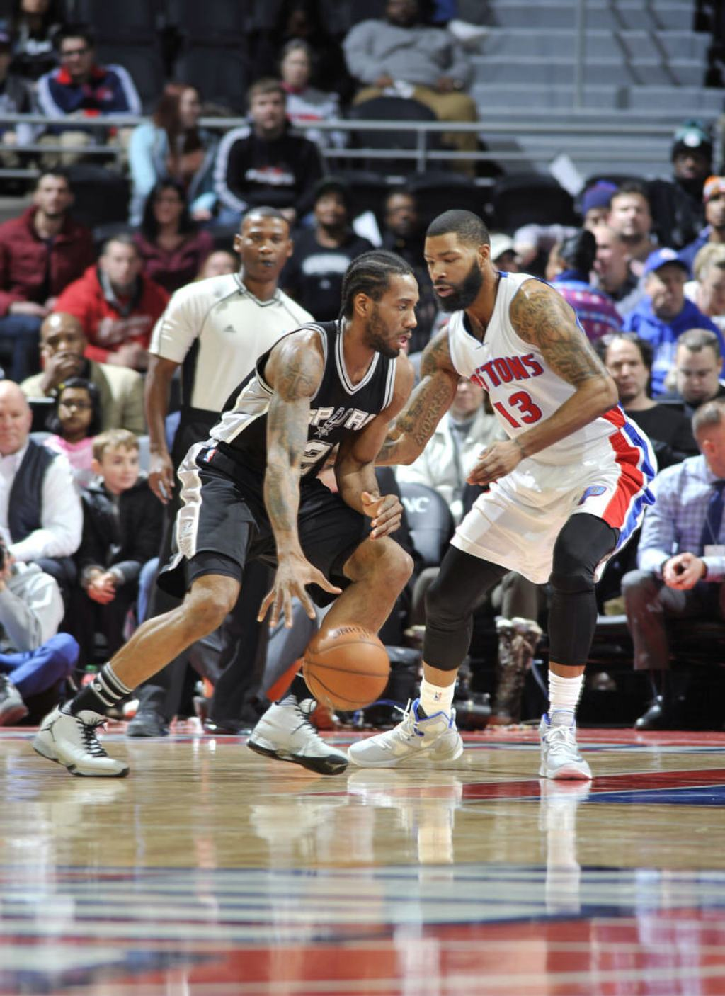 Kawhi Leonard and Marcus Morris wearing an Air Jordan XX9 PE and a Nike LeBron 13 iD, respectively