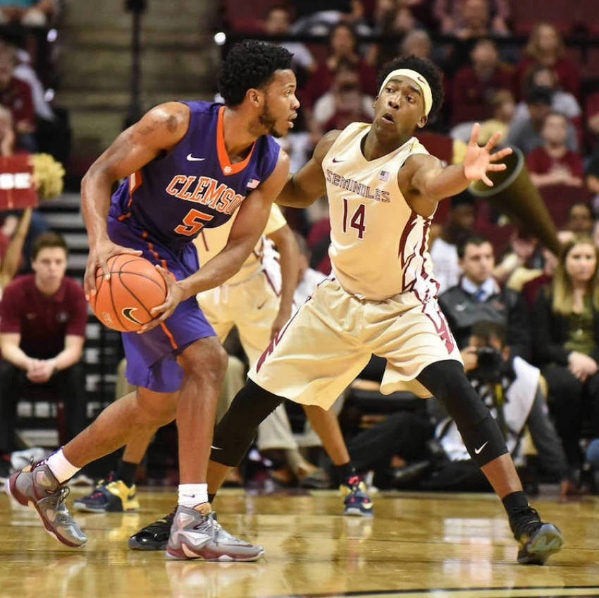 "Clemson's Jaron Blossomgame in the Nike LeBron 13 ""Opening Night"""