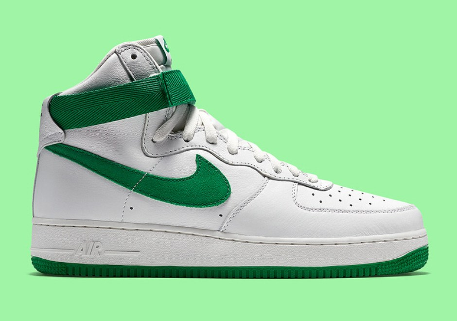green and white high top air force ones