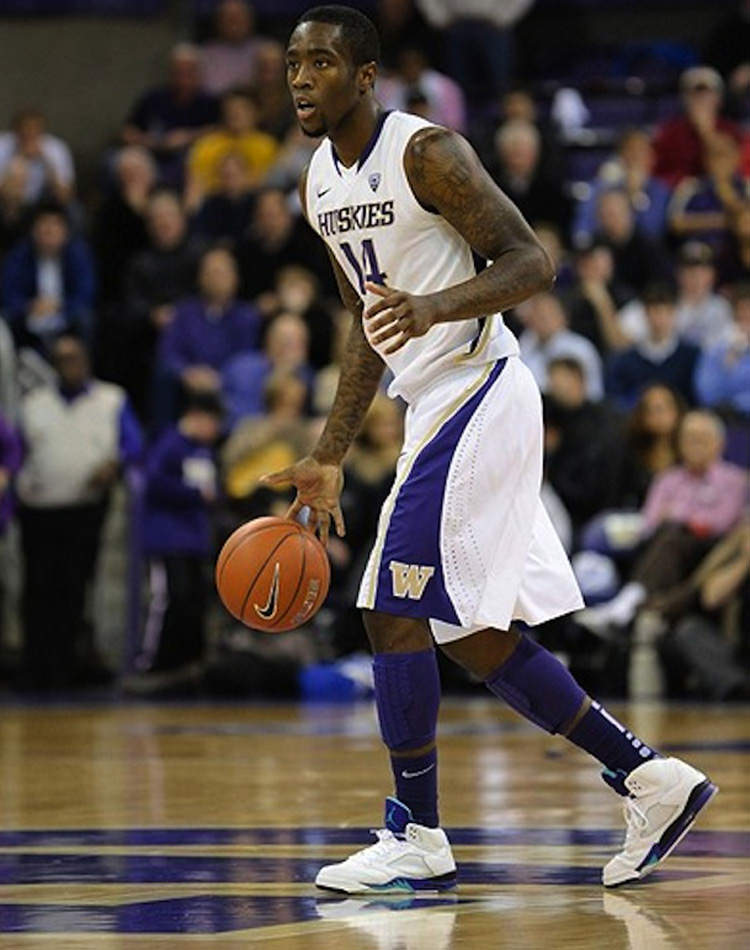"Tony Wroten in the Air Jordan 5 ""Grape"""