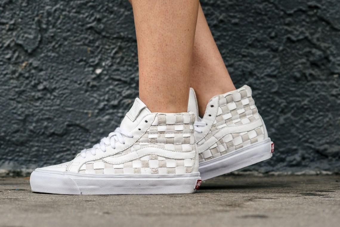 on foot look vans sk8 hi woven lx white beige nice kicks