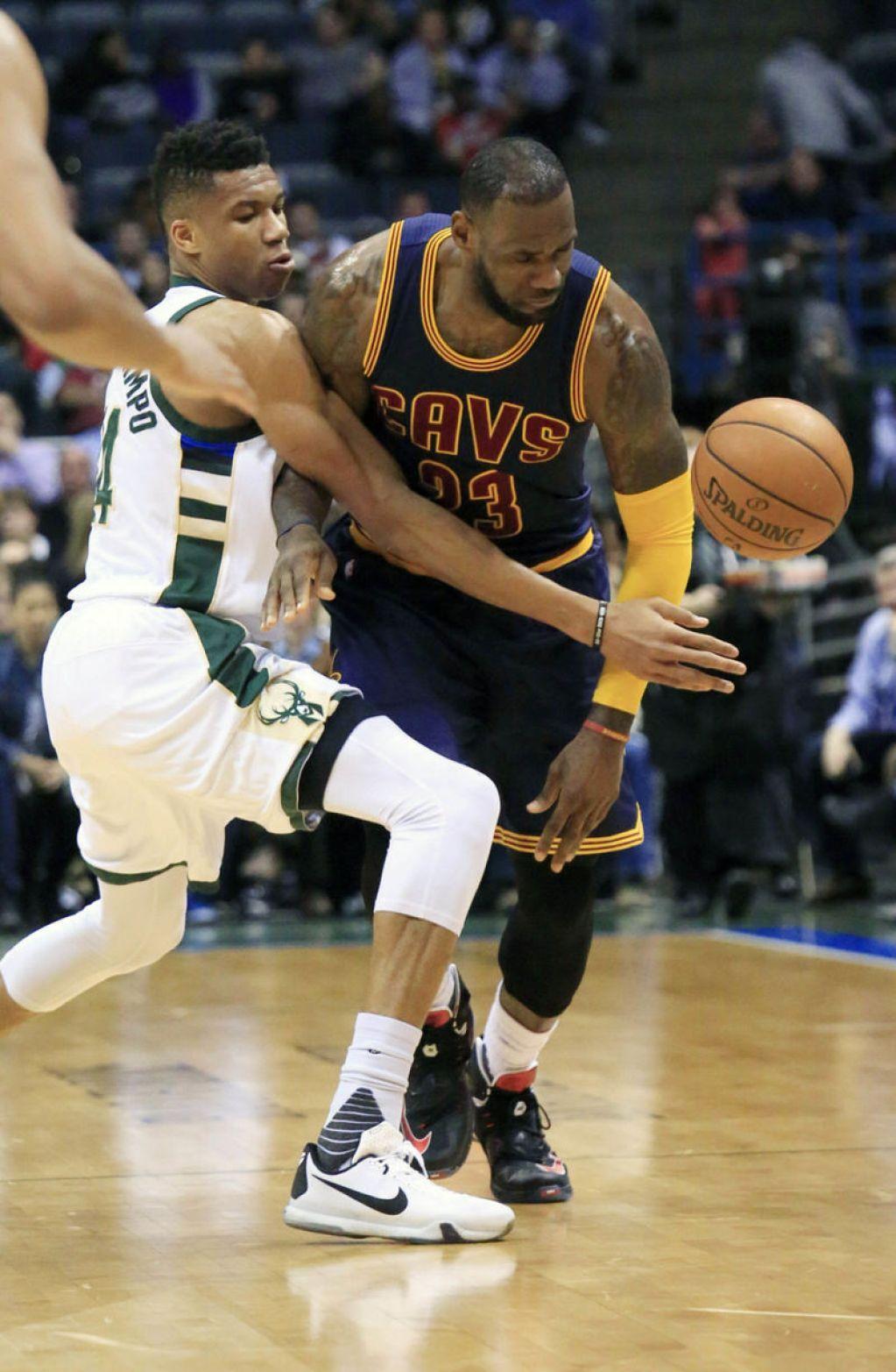 pretty nice f6074 68eab ... Giannis Antetokounmpo and LeBron James in the Nike Kobe X and a Nike  LeBron 13 PE