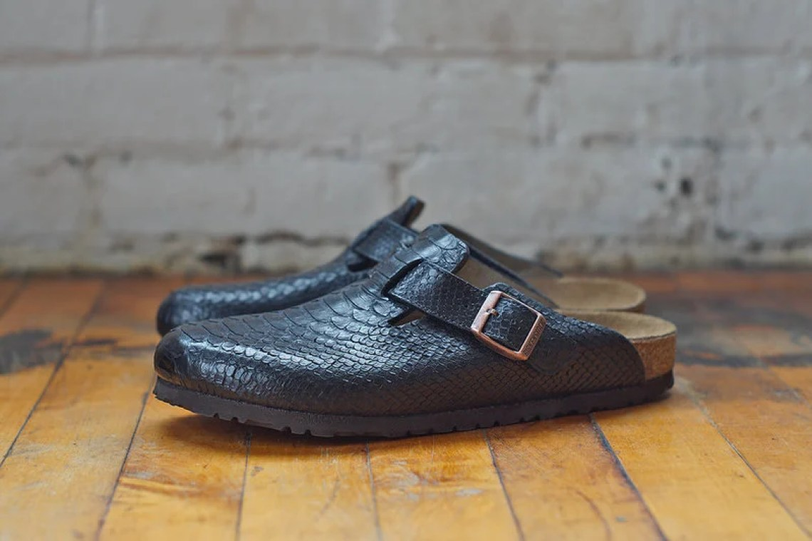 Black Python Birkenstock Boston
