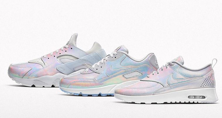 Womens nike id air max thea prm iridescent white custom