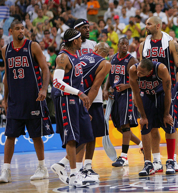 ATHENS - AUGUST 27: USA stands on the court dejected after their loss to Argentina during the mens' basketball semifinal game on August 27, 2004 during the Athens 2004 Summer Olympic Games at the Indoor Hall of the Olympic Sports Complex in Athens, Greece. NOTE TO USER: User expressly acknowledges and agrees that, by downloading and or using this photograph, User is consenting to the terms and conditions of the Getty Images License Agreement. Mandatory copyright notice: Copyright NBAE 2004 (Photo by Jesse D. Garrabrant/NBAE via Getty Images) *** Local Caption *** Tim Duncan;Allen Iverson;Stephon Marbury;LeBron James