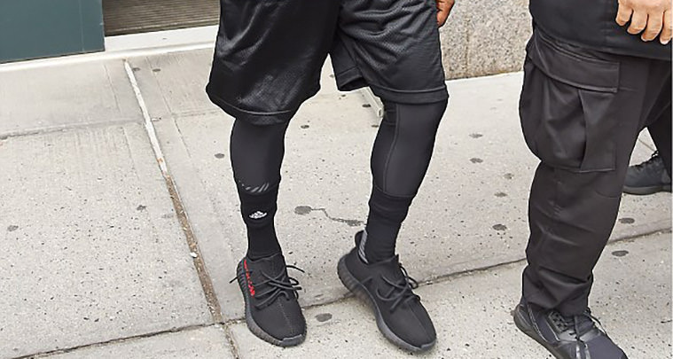 check out b065a 5155b Kanye West Steps Out in Black/Red adidas Yeezy Boost 350 ...
