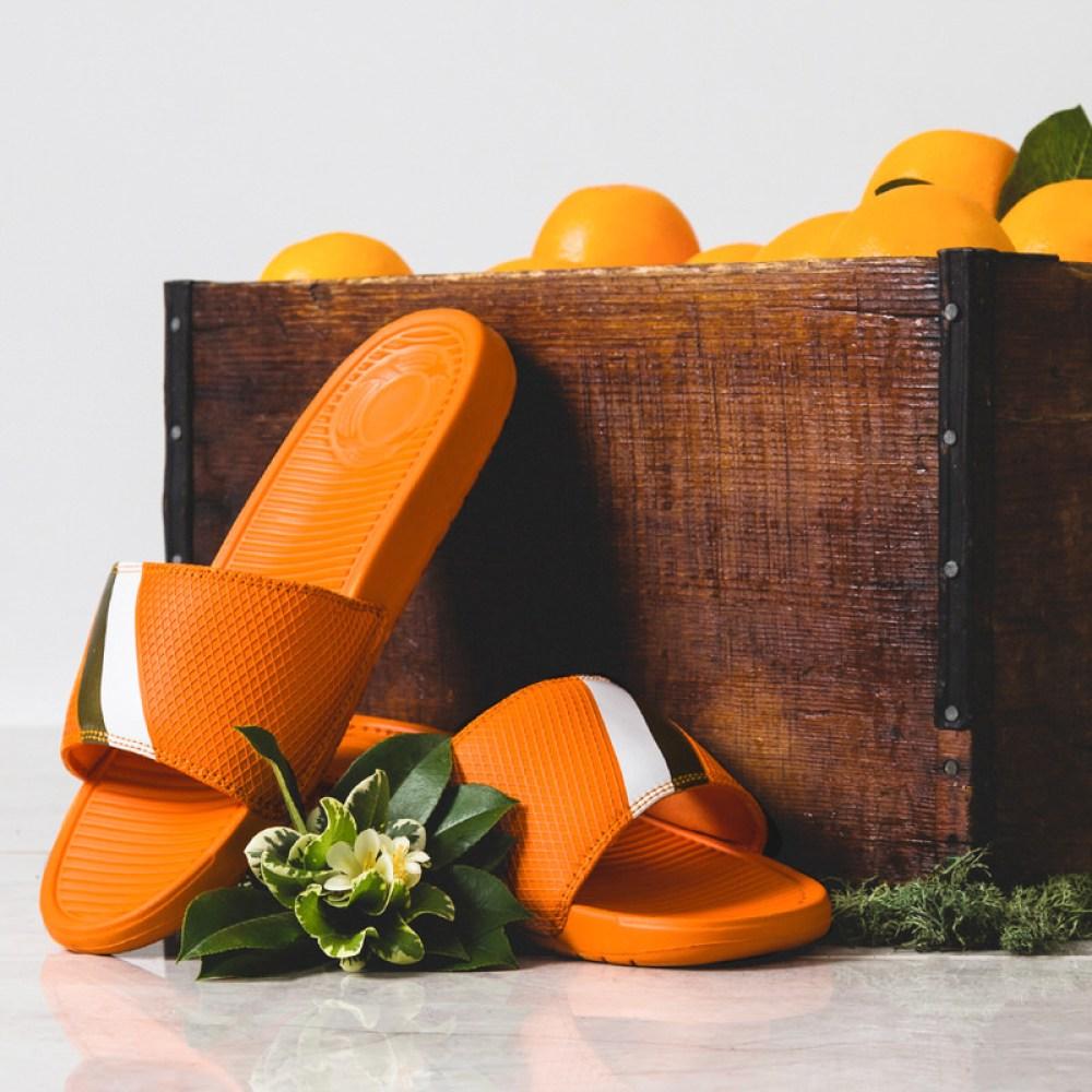 sandalboyz orange slides drop this weekend nice kicks