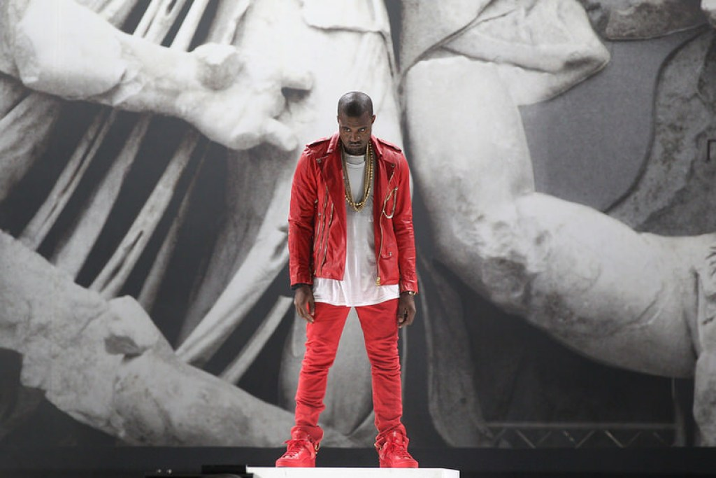 "Kanye West in the Louis Vuitton Don ""Red"""