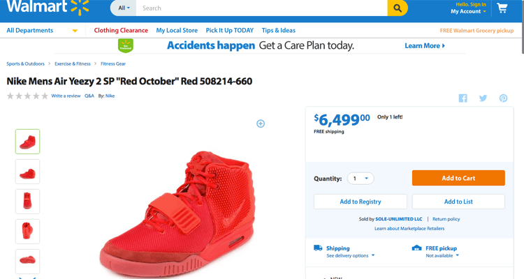 "sale retailer 802e3 15700 Nike Air Yeezy 2 ""Red October"" Currently For Sale at Walmart"