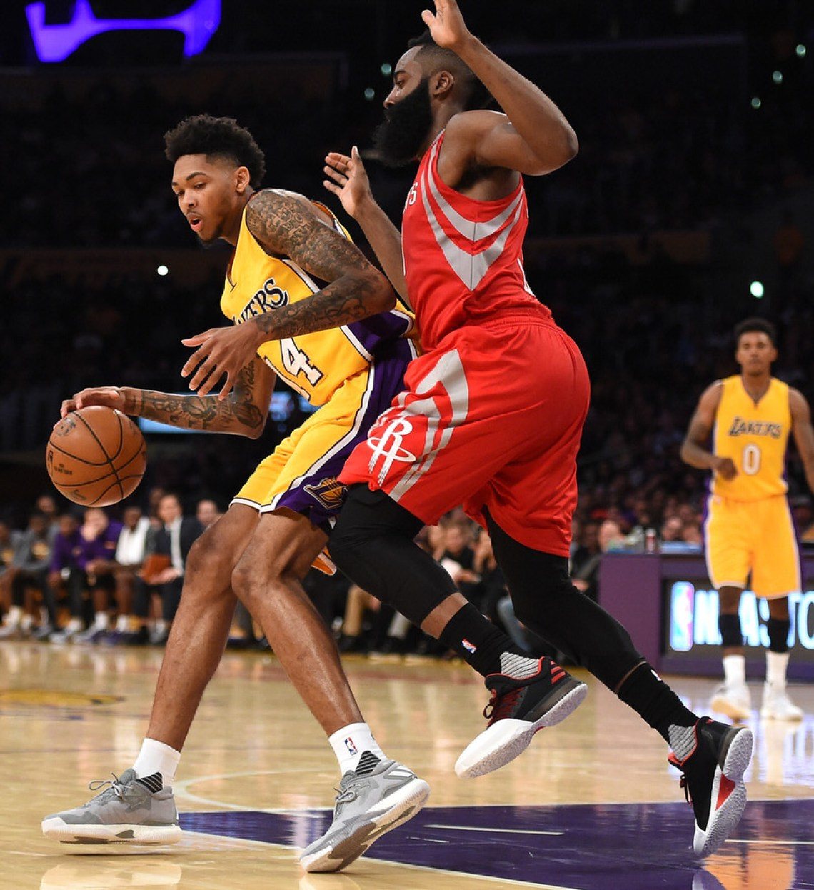 save off e9ff0 d6cb8 LOS ANGELES, CA - OCTOBER 26  Brandon Ingram  14 of the Los Angeles. James  Harden ...