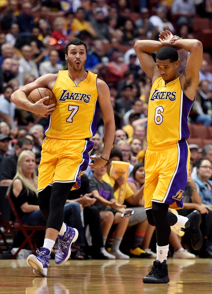 "Larry Nance Jr. in the adidas Crazy Explosive & Jordan Clarkston in the Nike Kyrie 2 ""Triple Black"""