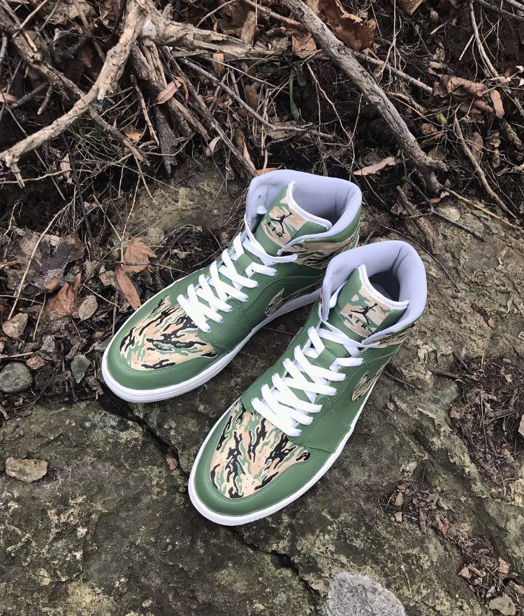 """Air Jordan 1 """"Tiger Camo"""" Custom by Fuda Customs"""