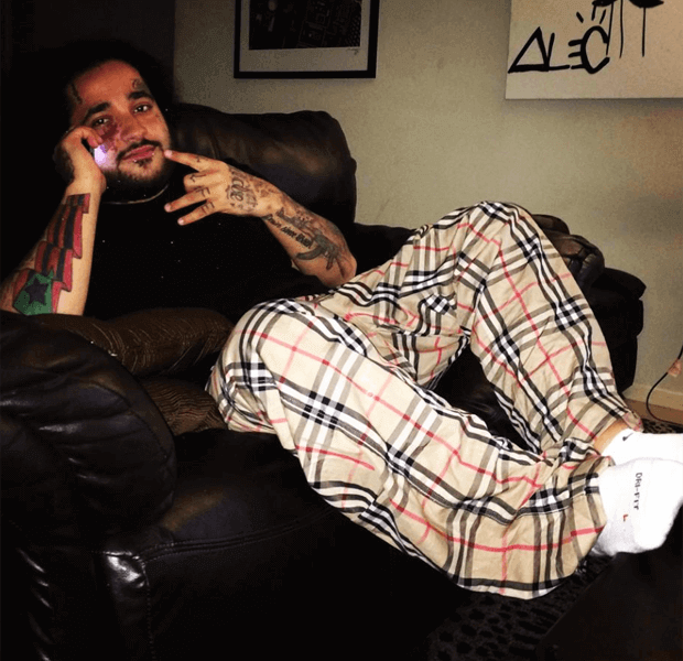 A$AP Yams in Burberry pajamas and Nike Elite socks