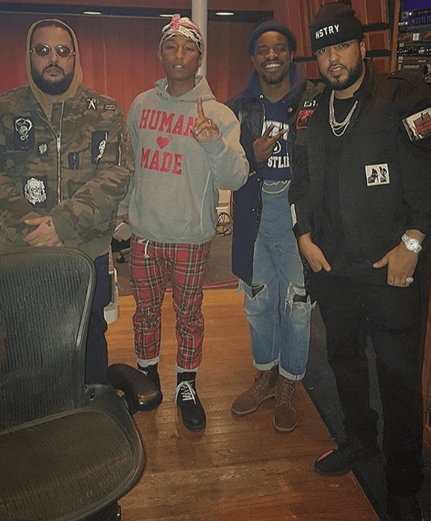 French Montana in the adidas Yeezy Boost 350 V2 Black/Red