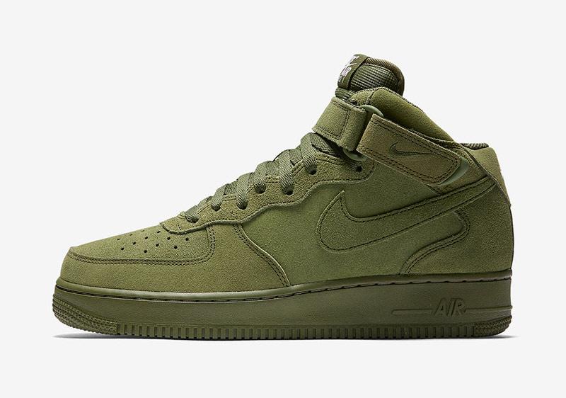 Nike Air Force De Olive En Daim Vert