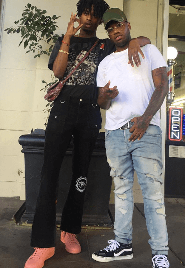 Plavboi Carti in the Adidas x Raf Simons Stan Smith Sneakers