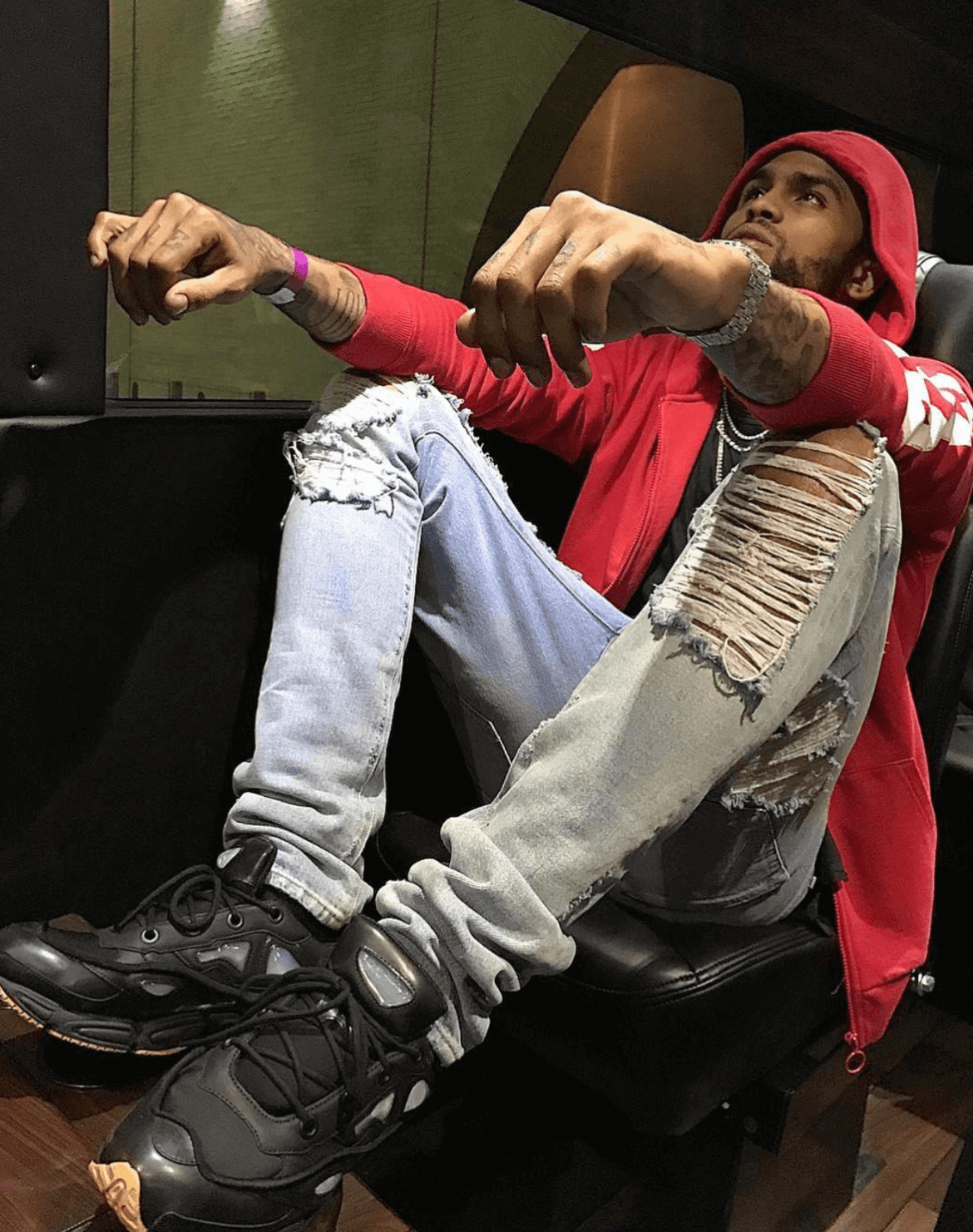 Dave East in the Raf Simons x Adidas Ozweego Sneakers
