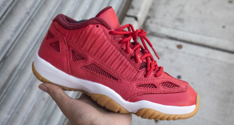 1910036642fcaa Red Leather   Gum Soles Redress this Air Jordan 11 Low IE Custom