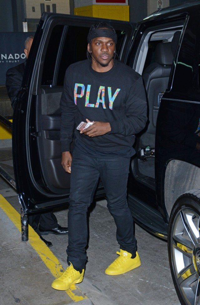 Pusha T in the Adidas x Raf Simons Stan Smith Sneakers