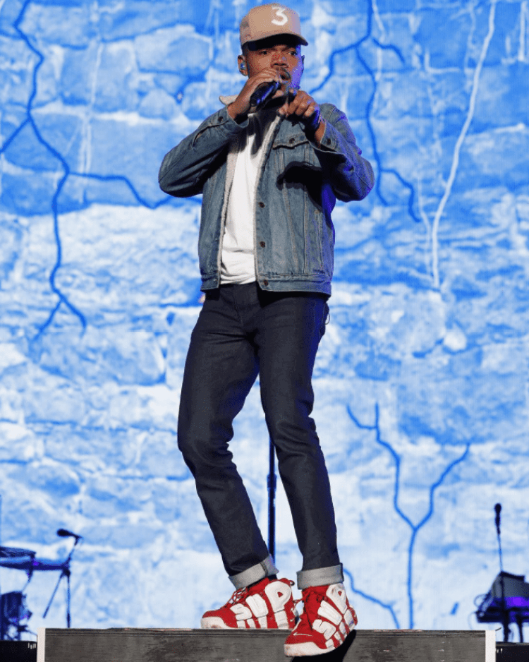 new concept b6a7b 5a85d ... Chance the Rapper in the Supreme x Nike Air More Uptempo