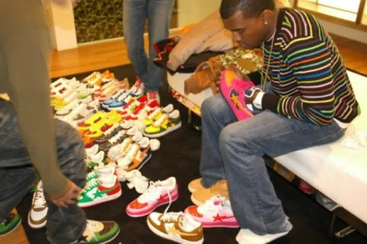 Kanye West in the A Bathing Ape Sta