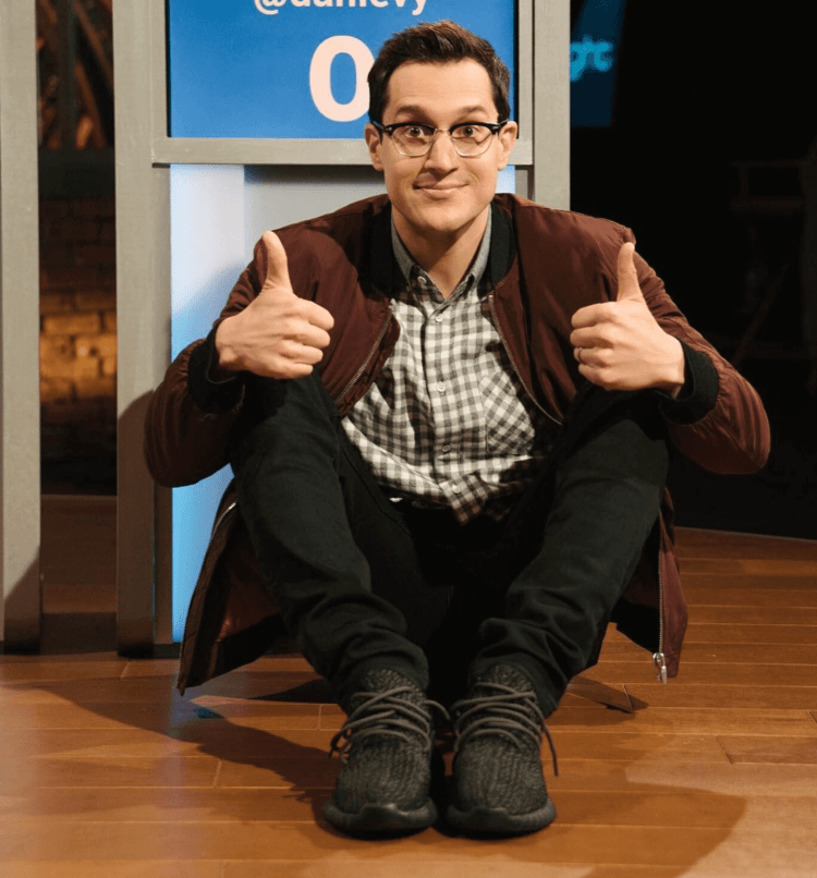 """Dan Levy in the adidas Yeezy Boost 350 """"Pirate Black"""""""