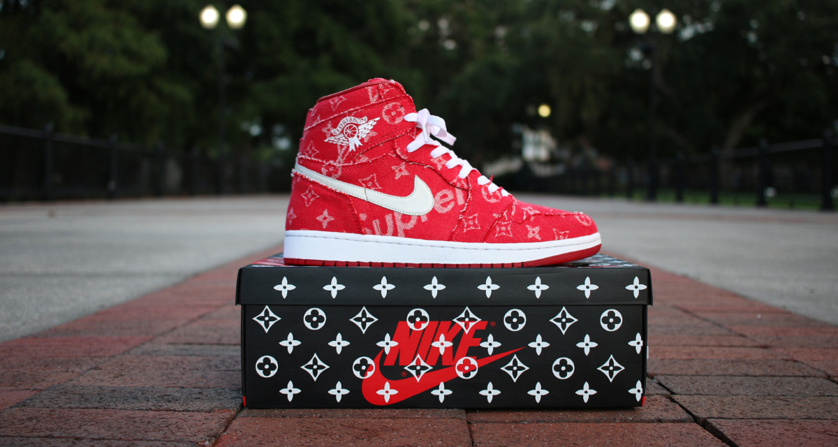 huge discount 6e3eb 020f9 Supreme x Louis Vuitton Collection Inspires Air Jordan 1 Custom