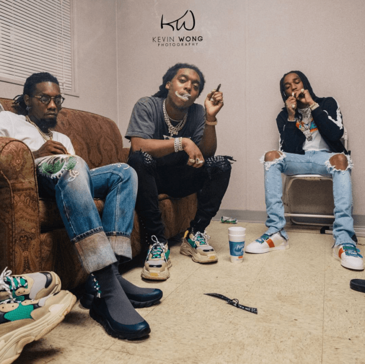 Offset in the Gucci Sneakers & Takeoff in the Balenciaga Triple S Sneakers & Quavo in the Fendi Sneakers
