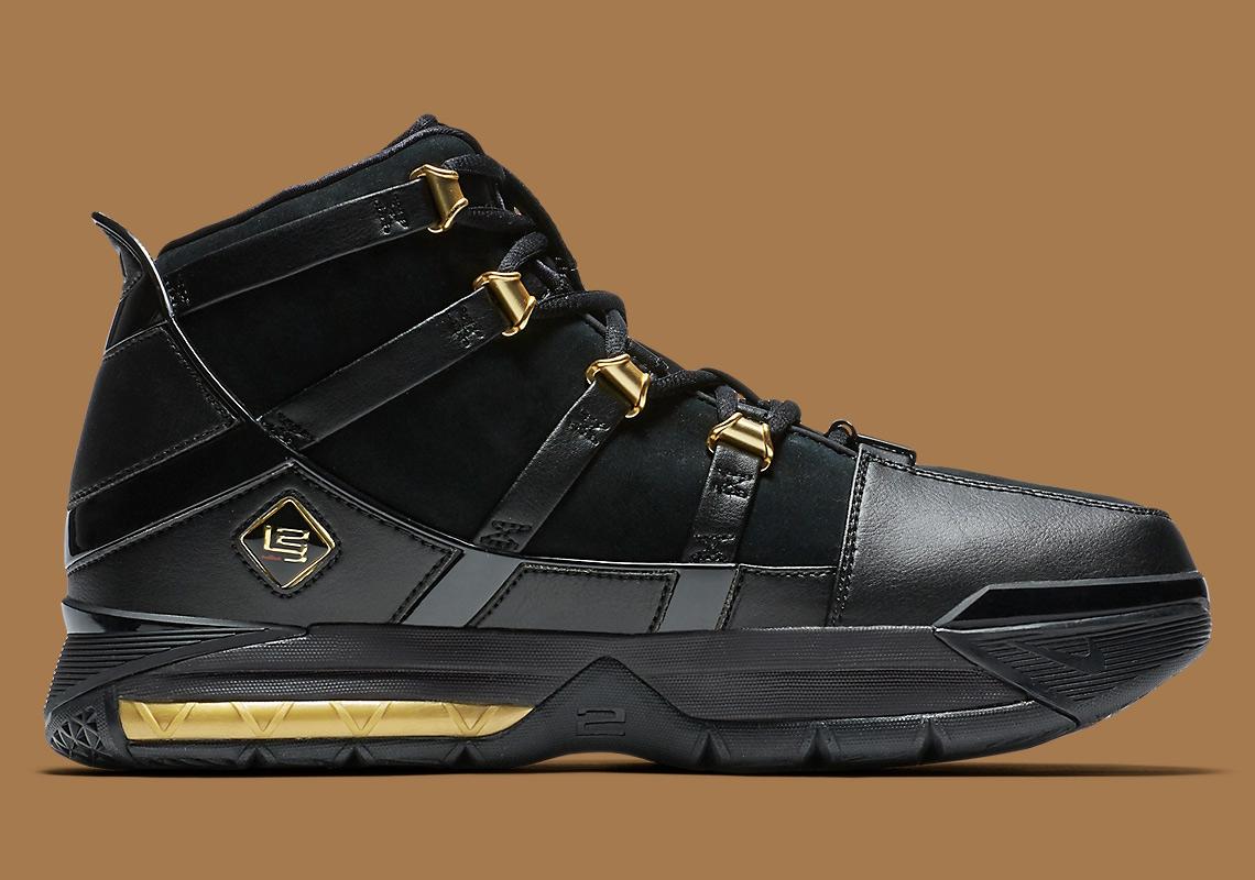 296bbbb4717 Nike LeBron 3 Black Gold OG Lands Next Week
