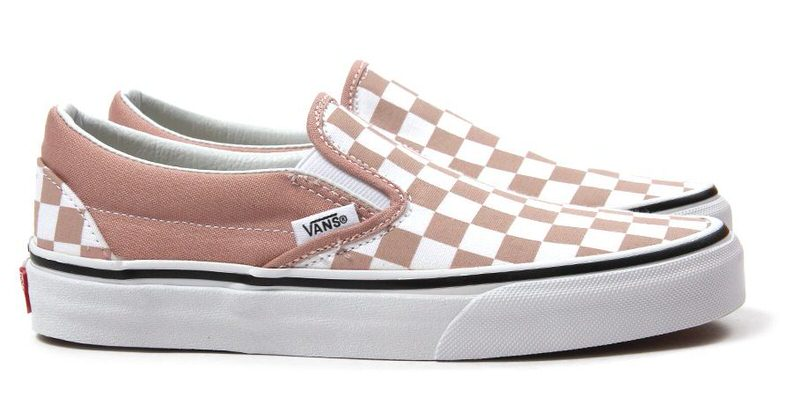 vans classic slip on pink checkerboard