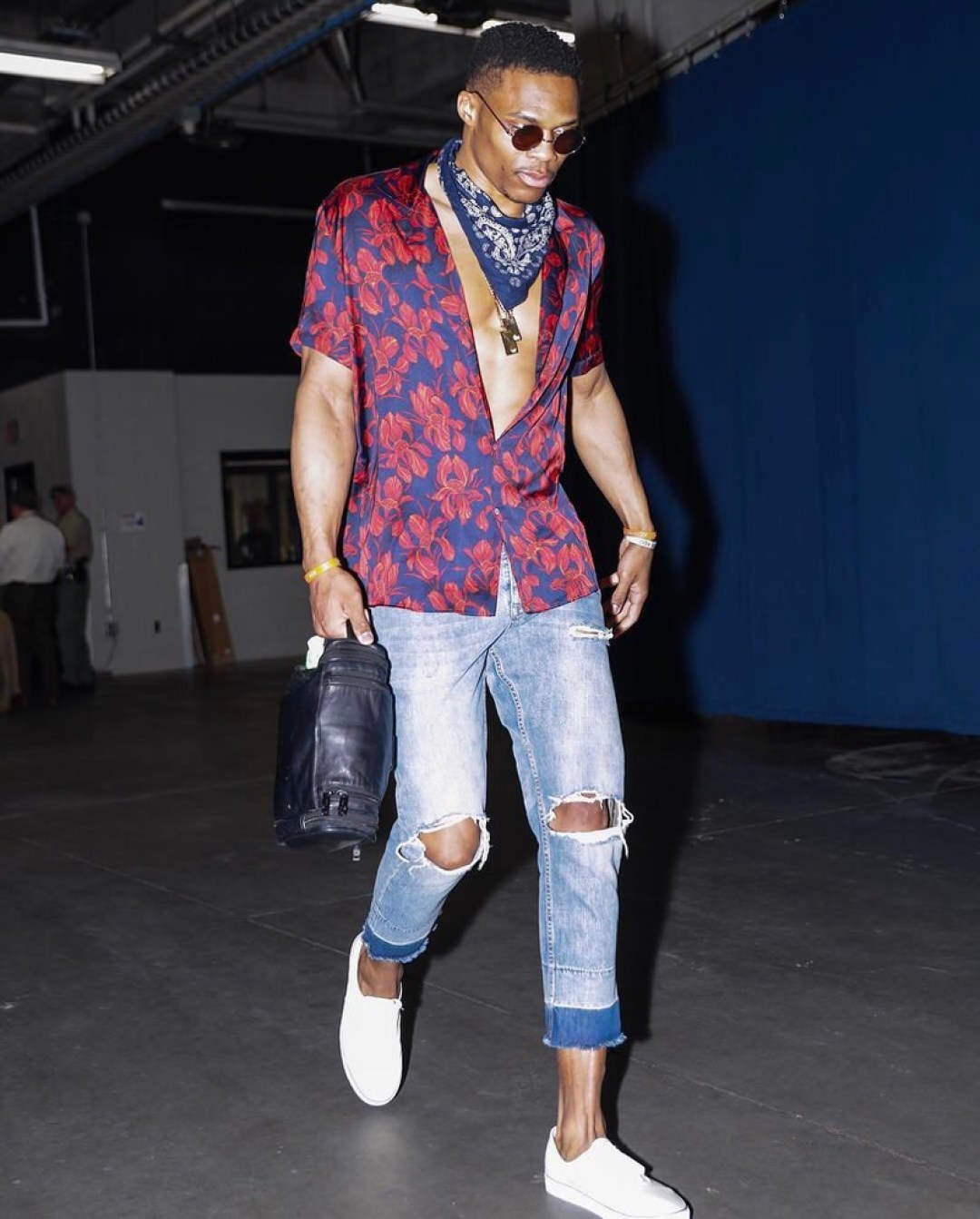Russ looks like he's on vacation, but his style is all business.