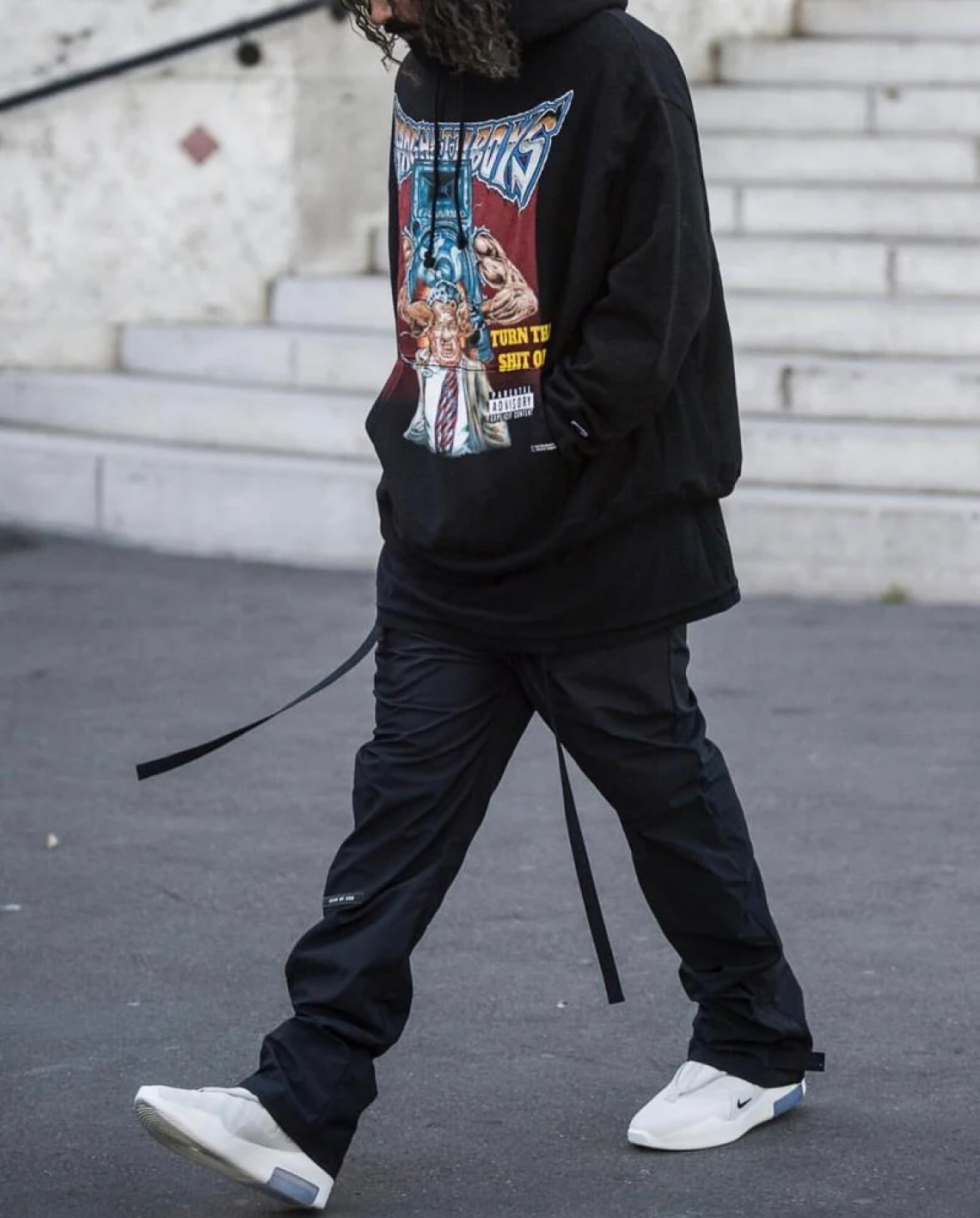 What makes Jerry Lorenzo's style so alluring is his ability to create new proportions. That, and his ability to find insanely good vintage hoodies.