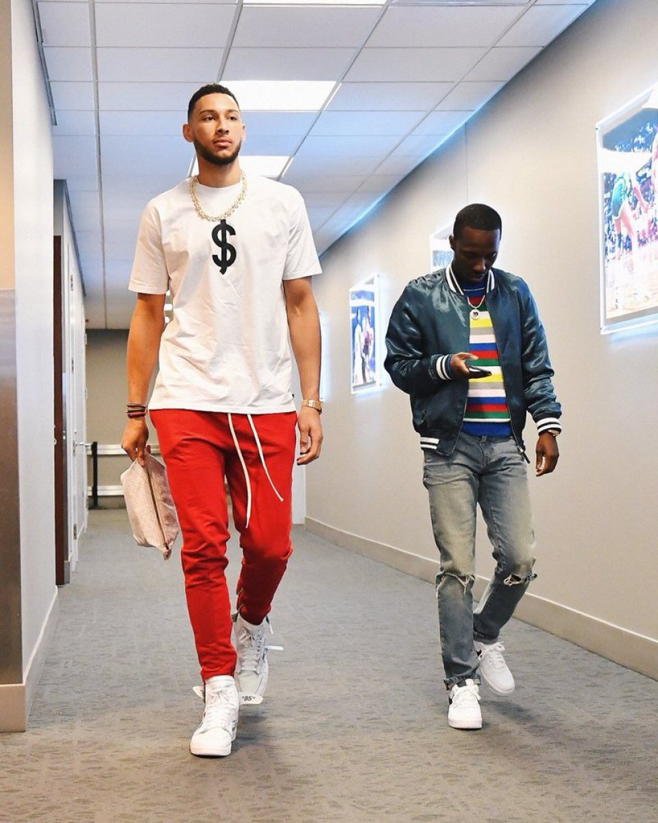 Ben Simmons in the Off White x Air Jordan 1 NRG & Rich Paul in the Nike Air Force 1 Low