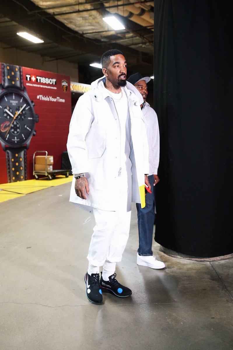 JR Smith in the Off White x Nike Zoom Fly Mercurial Flyknit Black