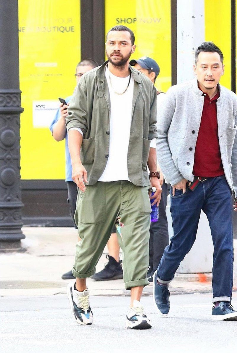 Jesse Williams in the adidas Yeezy Boost 700